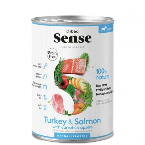 Sense pavo y salmón pienso húmedo para cachorros