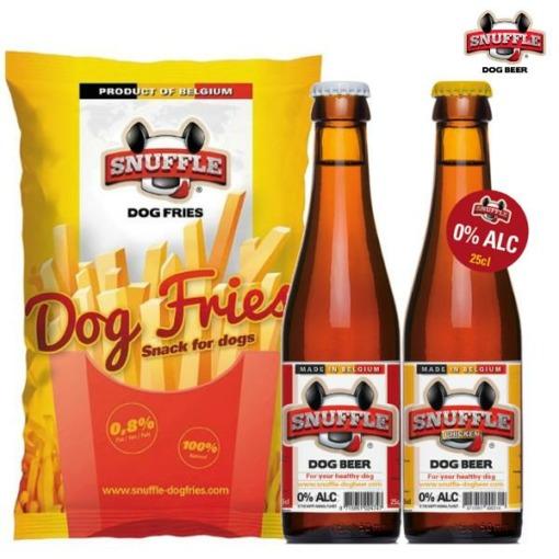 Cerveza para perros Snuffle (2 botellas + 1 bolsa de patatas)